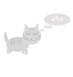Cat thinks about the fish vector