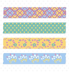 Collection of Cute Patterned Washi Tape Strips vector image