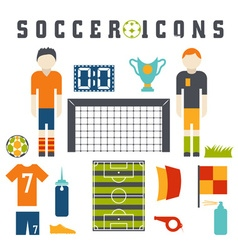 collection of flat icons on the theme of football vector image vector image