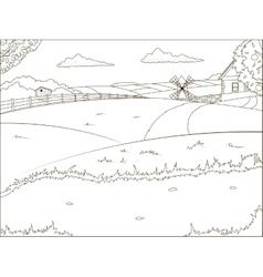 Coloring book farm cartoon educational vector