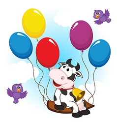 Cow on balloon vector