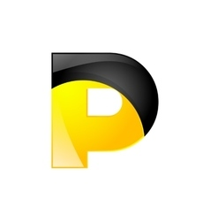 Creative yellow and black symbol letter p for your vector