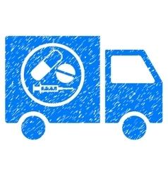 Drugstore truck grainy texture icon vector