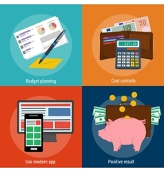 Four concepts budget planning vector image vector image