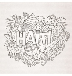 Haiti hand lettering and doodles elements and vector image vector image