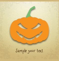 halloween card with sly pumpkin vector image