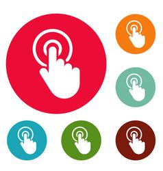 hand cursor click icons circle set vector image