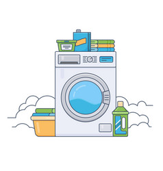 Laundry room with working washing machine thin vector
