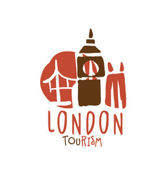 London tourism logo template hand drawn vector