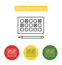 Lottery games card for numbers selecting symbol vector