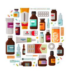 medicine pharmacy concept drug medication set vector image