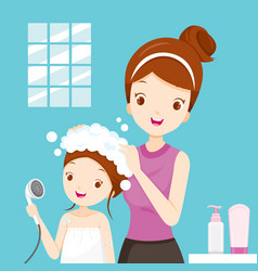 mother washing daughter hair in bathroom vector image vector image