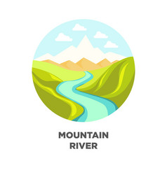 mountain river landscape isolated icon for vector image