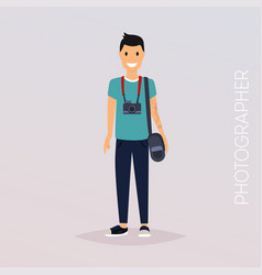Photographer with camera flat design modern vector