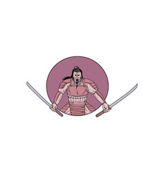 raging samurai warrior two swords oval drawing vector image