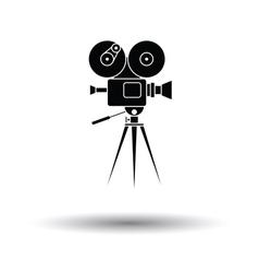 Retro cinema camera icon vector