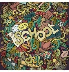 School cartoon hand lettering and doodles elements vector image