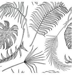seamless black and white pattern with exotic vector image vector image