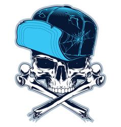 Skull with cross bones and cap vector