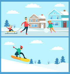 snowboarder and family set vector image