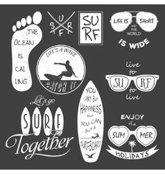 Surfer set Vintage elements and labels vector image vector image