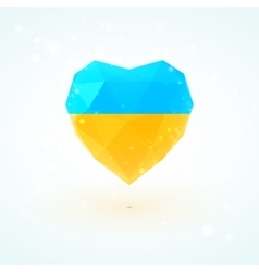 Ukrainian flag in shape diamond glass heart vector