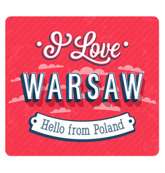 Vintage greeting card from warsaw vector