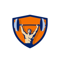Weightlifter lifting barbell crest retro vector