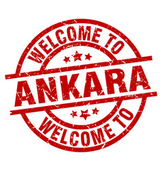 Welcome to ankara red stamp vector