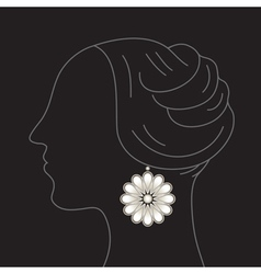 Woman with flower earring vector image