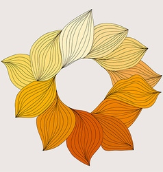 Wreath from yellow leaves template for wedding vector