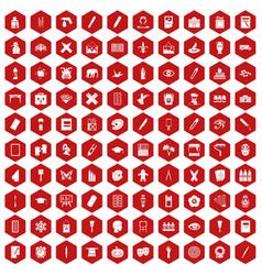 100 paint school icons hexagon red vector