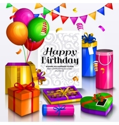 Happy birthday greeting card pile of colorful vector
