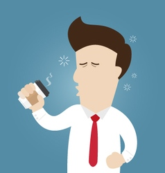 Sleepy businessman hold paper cup of coffee vector