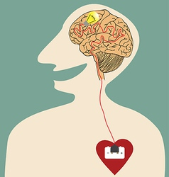 Heart brain and idea connected with power plug vector