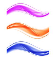 Abstract soft elegant wavy lines set vector