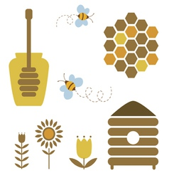 Honey and bee icons set vector