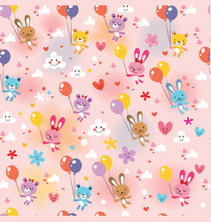 Bunnies and bears pattern vector