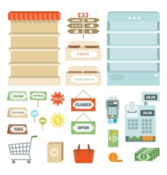Supermarket elements set vector
