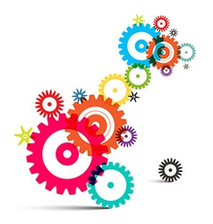 Transparent colorful wheals - cogs - gears on vector