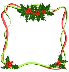 Holly berries frame christmas symbol vector