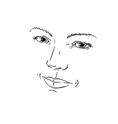 Facial expression hand-drawn of face of romantic g vector