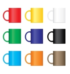 Colorful mugs set vector