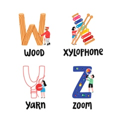 Alphabet letters w to z vector