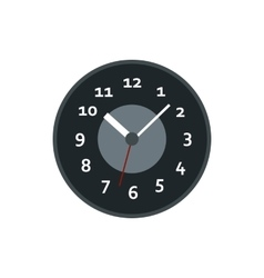 Black wall clock icon flat style vector image vector image