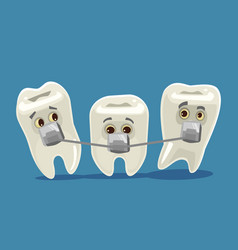 Bracket systems funny teeth characters vector