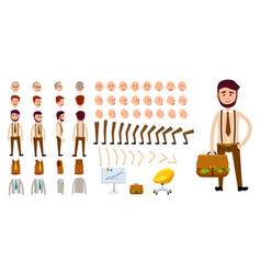 businessman character creation set cartoon design vector image vector image