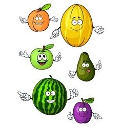 Cartoon isolated fresh fruits characters vector
