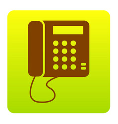 Communication or phone sign brown icon at vector
