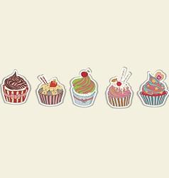 Cupcake pattern border vector